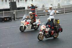 Bremsungen auf Motorrädern Stockfotografie