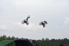 Bremsungs-Motorräder Stockfoto