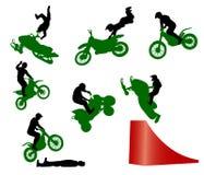 Bremsungserscheinen auf einem Motorrad. Stockfoto