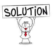 Brenda has a solution. Brenda holds a placard on which there wrote SOLUTION Royalty Free Stock Photos