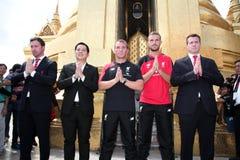 Brendan Rodgers Manager de Liverpool y Jordan Henderson Foto de archivo libre de regalías