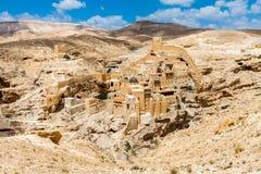 Breng Saba, Heilige Lavra van in de war Heilige Sabbas, Oostelijk Orthodox Christelijk klooster Cisjordanië, Palestina, Israël stock foto