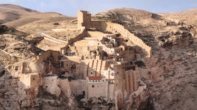Breng Saba Monastery, Palestina in de war stock foto's