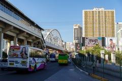 Breng 9.2018 spitsuur in Epifanio DE los Santos AvenueEDSA in Manilla in de war stock afbeelding