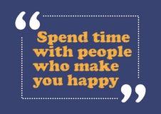 Breng tijd met mensen door die u gelukkige Inspirational citaat Bedrijfsstijlkaart maken vector illustratie