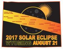 2017 brengt de Zonneverduistering over de Steden van Wyoming vectorillustratie in kaart stock illustratie