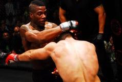 Brennan Ward v. Harley Beekman, MMA. Harley Beekman tries to grab Brennan Ward by his head during their fight at Twin River Casino stock image