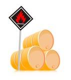 Brennbares Material des Zeichens Stockfoto