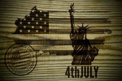Brennen Sie das Holz aus 4. Juli der Tag von Unabhängigkeit lizenzfreie abbildung