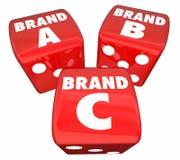 Brennen Sie ein Produkt B C Rolling Dice Choose Best Company ein vektor abbildung