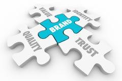 Brennen Sie Puzzlespiel-Stück-Qualitäts-Wert-Identitäts-Vertrauens-Wörter 3d Illust ein stock abbildung
