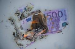Brennen von fünfhundert Euros im Schnee Stockfotografie
