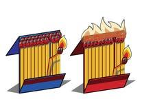 Brennende Abgleichungen Stockbilder