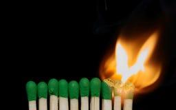 Brennende Abgleichungen Stockbild