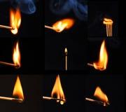 Brennende Abgleichungen collage Lizenzfreie Stockfotos