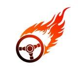 Brennende Automobilsteuerung des Symbols Lizenzfreie Stockfotos