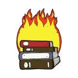 brennende Bücher der Karikatur Stockbild