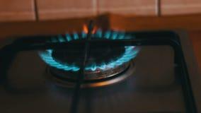 Brennende blaue Flammen eines Gasherds stock video