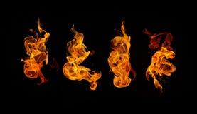 Brennende Feuersammlung Stockbilder
