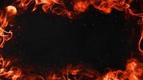 Brennende Flammen gestalten Zusammenfassung auf lokalisiertem Grenzschwarzhintergrund lizenzfreie abbildung