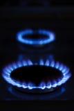 Brennende Gaskocherringe Stockfoto