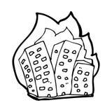 brennende Gebäude der Karikatur Stockfotografie
