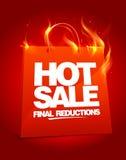 Brennende heiße Verkaufsauslegung. Stockfoto