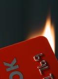 Brennende Karte Stockfoto