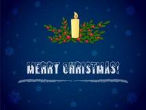 Brennende Kerze der frohen Weihnachten und Mistelzweigniederlassungsvektor stockbild