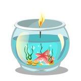 Brennende Kerze im Aquarium Auch im corel abgehobenen Betrag Lizenzfreies Stockfoto