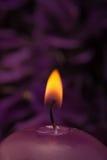 Brennende Kerze mit beruhigendem purpurrotem Hintergrund Stockbilder