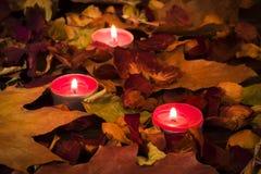 Brennende Kerzen auf einem Hintergrund von buntem trocknen Blätter Lizenzfreie Stockbilder