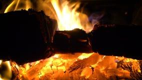 Brennende Klotz am Ofen stock video footage