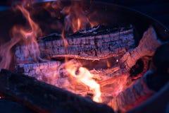Brennende Klotz und Kohle stockfotografie