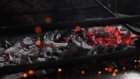 Brennende Kohlen im Feuer stock footage
