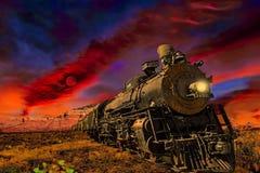 Brennende Lokomotive der klassischen Kohle circa ` 1930 s lizenzfreie stockfotos
