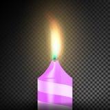 Brennende realistische Kerzen des Abendessen-3D dunkler transparenter Hintergrund Stockfotos