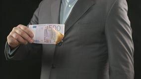 Brennende Rechnung des Euros fünfhundert, Geldverschwendung, wendend, Verlierer auf stock video