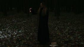 Brennende Seiten des gotischen Mädchens des Buches stock video