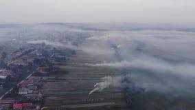 Brennende Unkräuter auf dem Feld, Rauch, Schaden der Umwelt, Luftverschmutzung Herbstzeit, ländliches Gebiet, Ukraine stock footage