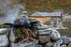 Brennende Wacholderbuschzweige - tibetian Ritualtribut zum Geist f stockfoto