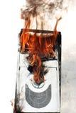 Brennender Computerkasten Stockbilder