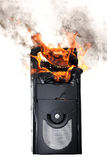 Brennender Computerkasten Lizenzfreies Stockbild