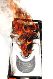 Brennender Computerkasten Stockfotografie