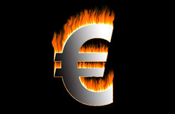 Brennender Euro Stockfoto