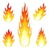 Brennender Feuer- und Flammenvektorsatz an lokalisiert Lizenzfreie Stockbilder