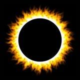 Brennender Feuerkreis lokalisiert auf schwarzem Hintergrund Lizenzfreie Stockfotos