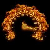 Brennender Geschwindigkeitsmesser Stockfotos