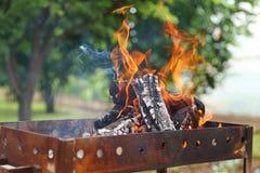 Brennender Grill Stockfotografie