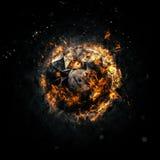 Brennender Kreis - roh - lokalisiert auf einem dunklen Hintergrund Stockbilder